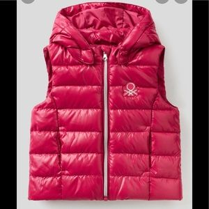 United Colors Of Benetton Girls Pink Puffer Vest